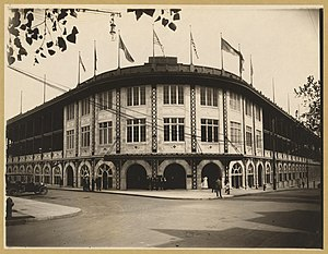 Exterior of Forbes Field, a baseball stadium, Pittsburgh, Pennsylvania LCCN95503573.jpg