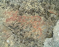 A rock painted moose from Jämtland. Rock paintings (pictographs) have been fairly limited to northern Scandinavia.