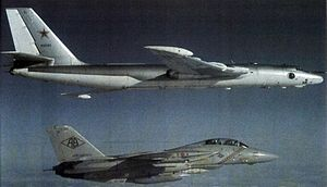 Myasishchev M-4 - A U.S. Navy Tomcat intercepting a Myasishchev 3M, 1983.