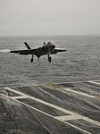 F-35C Lightning II of VX-23 landing on USS Eisenhower (CVN-69) in October 2015.JPG