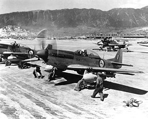 China–South Africa relations - South African Air Force 2 Squadron Mustang fighters during the Korean War.