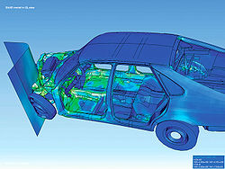 Visualization of how a car deforms in an asymmetrical crash using finite element analysis.