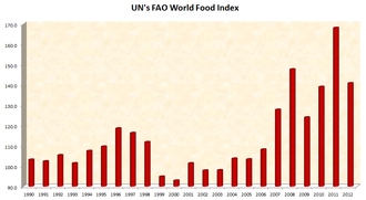 Hunger - The FAO's food price index reflects changes in the average international price of food. The sharp rise in 2007/08 caused a global food crisis, with food riots in dozens of countries, and pushed well over a hundred million into extreme hunger. The sharp rise in 2010/11 contributed to the Arab Spring.