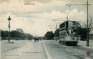 Porte de Vincennes - Another view showing a tram proceeding toward the Place de la République