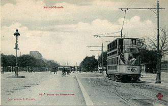Porte de Vincennes - Another view showing a tram proceeding toward the Place de la République