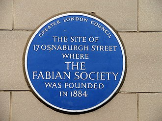 Fabian Society - Blue plaque at 17 Osnaburgh St, where the Society was founded in 1884