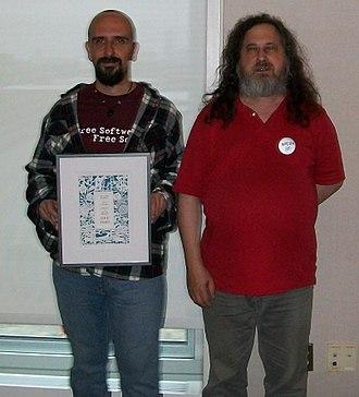 Luis Falcón - Falcon with Richard Stallman at Libreplanet 2012