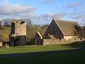 Farleigh Hungerford Castle - View across the outer court, showing the south-west tower (l) and St Leonard's Chapel (r)