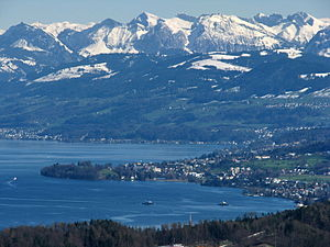 Au, Zurich - The village of Au and Au peninsula as seen from Felsenegg