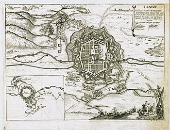 Black and white print shows fortress Landau in 1702.