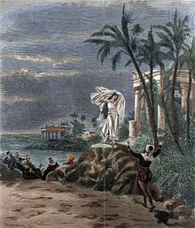 A stormy scene under a threatening sky; to the right is a pillared temple screened by palm trees. Outside the temple a woman stands, dressed in white, her robes blown in the wind. To the left in the middle distance a group of men is visible, gathered by the sea shore.