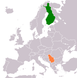 Map indicating locations of Финска and Србија