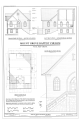 First floor plan, transverse section and south elevation, east elevation and longitudinal section, south elevation detail - Mount Grove Baptist Church, County Route 12-1, HABS WV-306 (sheet 1 of 1).png
