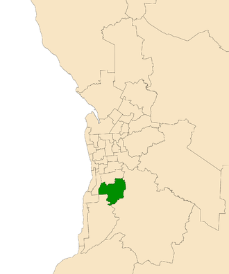 Electoral district of Fisher - Electoral district of Fisher (green) in the Greater Adelaide area