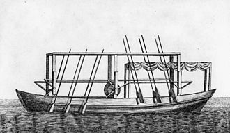 "John Fitch (inventor) - ""Plan of Mr. Fitch's Steam Boat"", The Columbian Magazine (December 1786), woodcut by James Trenchard."