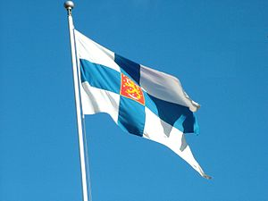 Flag of Finland, in Helsinki
