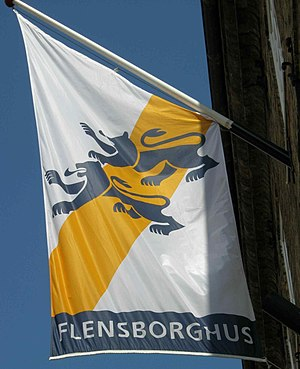 Danish minority of Southern Schleswig - Flag used by the South Schleswig Association showing the Schleswig lions
