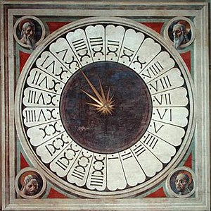 24-hour clock - Paolo Uccello's Face with Four Prophets/Evangelists (1443) in the Florence Cathedral