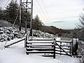 Footpath gate in the snow at Bwlch Pen Barras - geograph.org.uk - 1027800.jpg