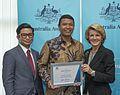Foreign Minister Julie Bishop, Australia Awards recipient Bimo Wijayanto and Albert Soesastro (15892280861).jpg