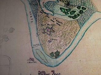 Fort Brown - Period map of Fort Brown in the park exhibit.