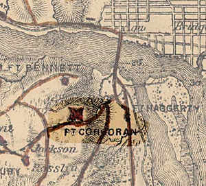 Fort Corcoran - Portion of an 1865 map showing the location of Fort Corcoran. To the northeast is the Potomac River and Georgetown. The Aqueduct Bridge can also be distinguished.