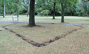 Fort Laurens - Southwest bastion outline in ground