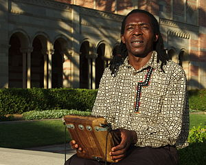 Forward Kwenda -  Forward Kwenda playing mbira near Royce Hall on the campus of UCLA, October 10, 2011.