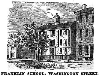 Washington Street (Boston) - Image: Franklin School Washington St Boston Homans Sketches 1851
