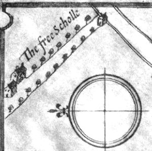 Friars School, Bangor - Detail from John Speed map of 1610, the only surviving image of the original school building