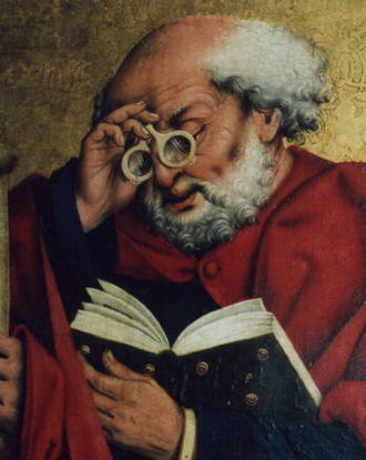 Medieval technology - Reading Saint Peter with eyeglasses (1466)