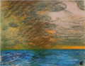 FujishimaTakeji-UnknownDate-Smoke of a Ship and Sunset.png