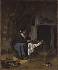 An Old Woman at Her Meal in an Interior