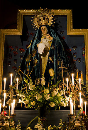 Sorrowful Mother of Warfhuizen - Our Lady of the Enclosed Garden wearing the festive mantle made by Koeiman