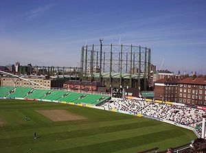Surrey County Cricket Club - Surrey's home ground The Oval, overlooked by the famous gasholders.