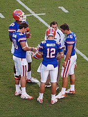 a351d7805 Newton, far left, with Dan Mullen, John Brantley, Tim Tebow, and Bryan  Waggener during his freshman season at Florida