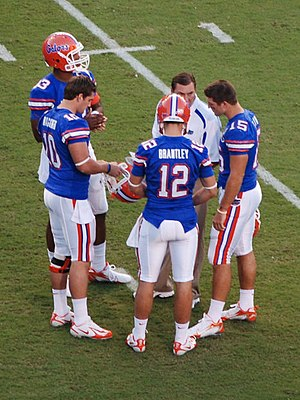 Cam Newton - Newton, far left, with Dan Mullen, John Brantley, Tim Tebow, and Bryan Waggener during his freshman season at Florida