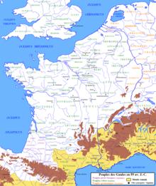 Carte géopolitique de la Gaule en 58 avant JC