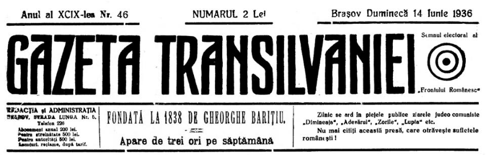 Gazeta Transilvaniei with FR logo, June 14, 1936