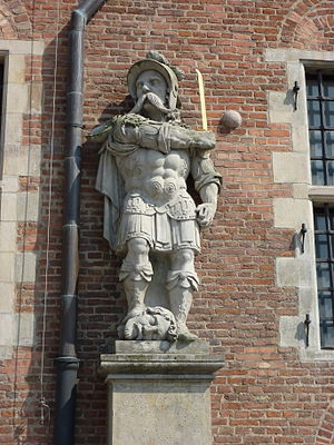 Ioan Potcoavă - Cossack with a head of Ioan Potcoavă, baroque sculpture from Great Armoury in Gdańsk
