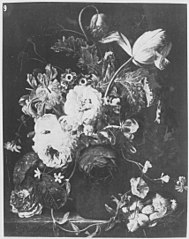 Still Life of Flowers in a Vase with a Bird's Nest
