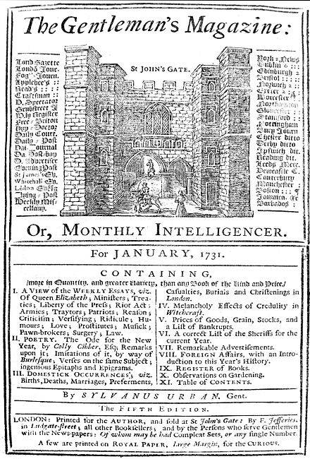 Front page of The Gentleman's Magazine, January 1731 Gentleman's Magazine 1731.JPG