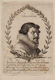 """Portret van Bredero. Tekening (reproductie uit 1619) naar een gravure. Met boven zijn lijfspreuk """""""