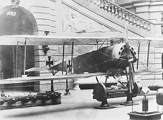 Oswald Boelcke - Boelcke's Fokker D.III fighter on display. He scored eight victories with this plane between 2 and 19 September 1916.