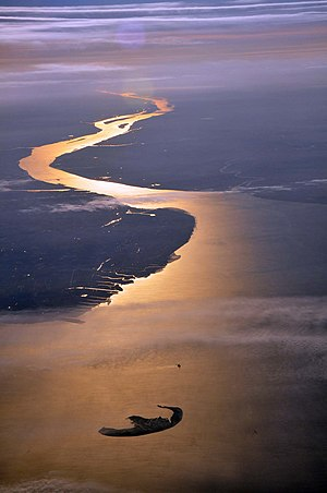 German Bight - The mouth of the river Elbe, here in October 2010, marks the southeastern corner of the German Bight. The island is Trischen.