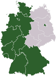 West Germany map after Allied Occupation (green)