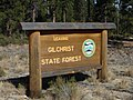 Gilchrist State Forest sign, Oregon, 2017.jpg