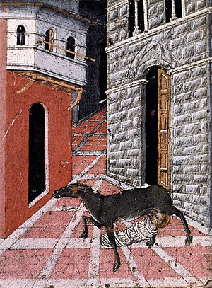 Santo Stefano alla Lizza - Predella by Giovanni di Paolo, St Stephen breast-fed by a doe