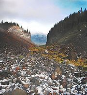A glaciated valley in the Mount Hood Wilderness showing the characteristic U-shape and flat bottom.