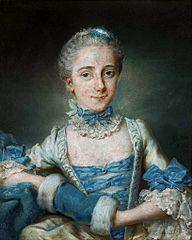Portret damy w błękitnej sukni z mufką